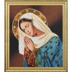 изображение: картина, вышитая бисером, Молящаяся Дева Мария