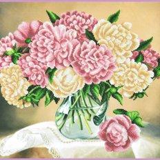 фото: картина, вышитая бисером, Пионы в вазе