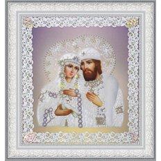 Набор для вышивки бисером Икона Святые Петр и Феврония (ажур) серебро