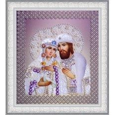 Набор для вышивки бисером Икона Святые Петр и Феврония (жемчуг) серебро