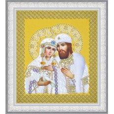 Набор для вышивки бисером Икона Святые Петр и Феврония (жемчуг) золото