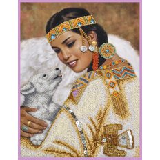 фото: картина для вышивки бисером, Девушка с собачкой