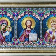 изображение: икона бисером Икона тройная Спаситель, Божья Матерь Казанская, Святой Николай Чудотворец