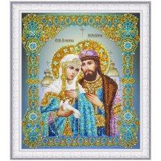 изображение: икона Святые Петр и Феврония, вышитая бисером