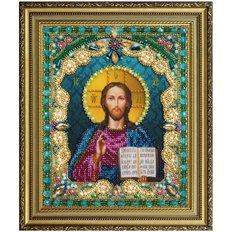 изображение: икона Христа Спасителя, вышитая бисером