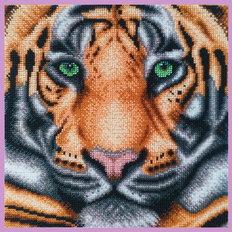 фото: картина, вышитая бисером, Тигр