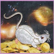фото: картина, вышитая бисером, Символ года Крыса
