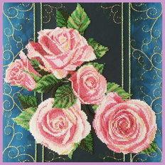 фото: картина вышитая бисером, Розы Винтаж