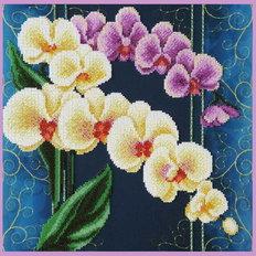 фото: картина вышитая бисером, Орхидеи Винтаж