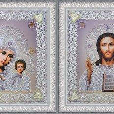 фото: иконы для вышивки бисером Господь Вседержитель и Богородица Казанская в серебряных тонах