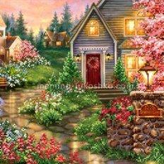 Схема для вышивки бисером Дом в цвету
