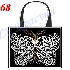 фото: пошитая сумка для вышивки бисером или нитками, черная