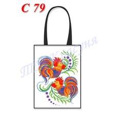 фото: пошитая сумка для вышивки бисером или нитками, белая с петушками
