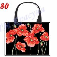 фото: пошитая сумка для вышивки бисером или нитками, чёрная с маками
