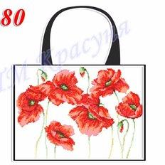 фото: пошитая сумка для вышивки бисером или нитками, белая с маками