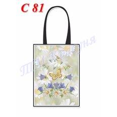фото: пошитая сумка для вышивки бисером или нитками, ромашки и бабочка