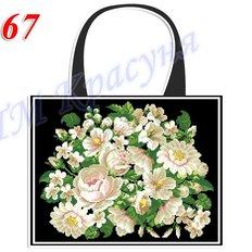 фото: пошитая сумка для вышивки бисером или нитками, белая с розами