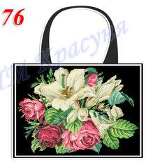 фото: пошитая сумка для вышивки бисером или нитками, чёрная с лилиями
