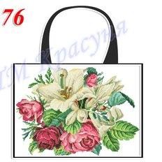 фото: пошитая сумка для вышивки бисером или нитками, белая с лилиями