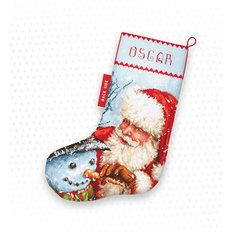 фото: новогодний сапожок для вышивки крестиком Санта Клаус