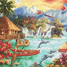 фото: картина для вышивки крестом, Островная жизнь