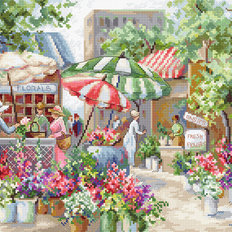 фото: картина, вышитая крестом, Цветочный рынок
