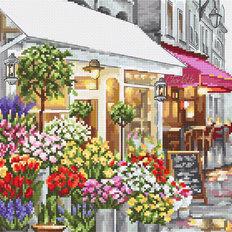 фото: картина, вышитая крестом, Магазин цветов Flower Shop