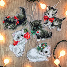 фото: игрушки, вышитые крестом, Рождественские игрушки Котята Christmas Kittens Toys