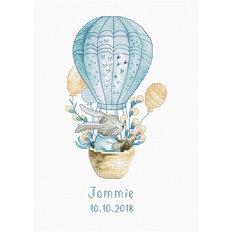 фото: метрика для вышивки крестом, Метрика для мальчика Кролик на воздушном шаре