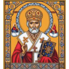 изображение: икона, вышитая крестиком, Святой Николай