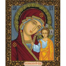 изображение: икона, вышитая крестиком, Казанская Божья Матерь