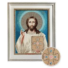 изображение: икона, вышитая крестиком, Икона Иисус Христос