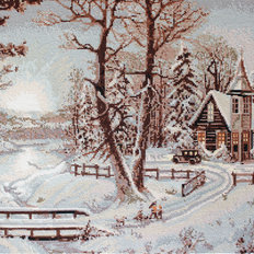 фото: картина для вышивки гобелена Зимний пейзаж