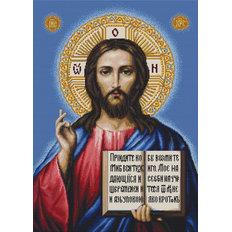 изображение: икона Спаситель, вышитая гобеленовым швом