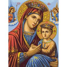 изображение: икона Божией Матери, вышитая гобеленовым швом