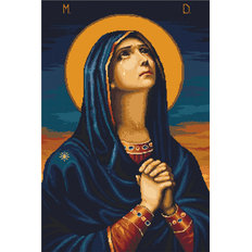 изображение: Икона Божией Матери Всех скорбящих радость, вышитая гобеленовым швом