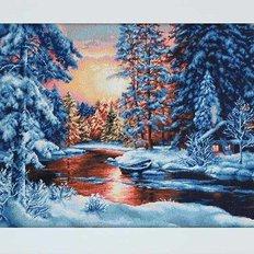фото: картина, вышитая гобеленовым швом, Зимний Закат