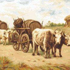 фото: вышитый гобелен Телега с быками, по картине Теодора Амана (Car cu boi, după pictura lui Theodor Aman)