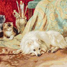 фото: вышитый гобелен Собака и Кошки