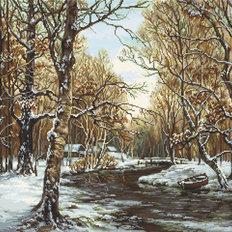 фото: картина для вышивки гобеленовым швом Первый снег