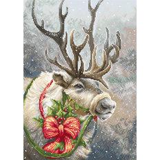 фото: картина для вышивки гобеленовым швом Рождественский олень