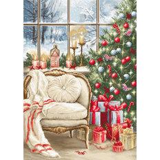 фото: картина для вышивки гобеленовым швом Рождественский интерьер