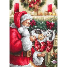 фото: картина для вышивки гобеленовым швом Дед Мороз