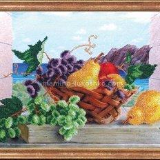 Схема для вышивки бисером Груши с виноградом