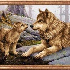 Схема для вышивки бисером Волчица с волчонком