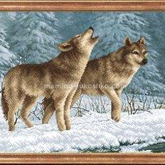 Схема для вышивки бисером Волки на снегу