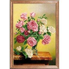 Схема для вышивки бисером Розы деликатные