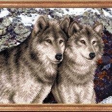 Схема для вышивки бисером Пара волков