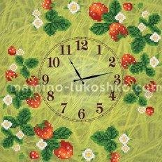 Схема для вышивки бисером Часы. Клубничка