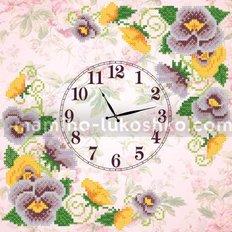 Схема для вышивки бисером Часы. Анютины глазки